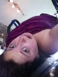 Doing some physical therapy upside-down on my inversion table.