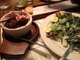 The salt-roasted beets (left) and kale caesar salad (right).