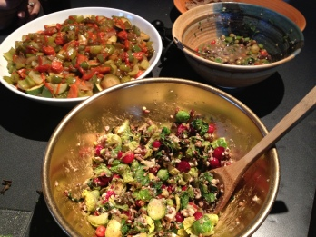 The Brussels sprouts dish I made, front and center, along with other vegetarian delights