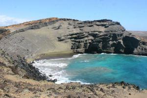 Green sand beach!