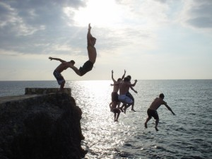 Jumping cliffs in Negril with some of my dude friends.
