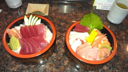Tuna on the left, Chirashi on the right...I'm drooling just looking at this picture.